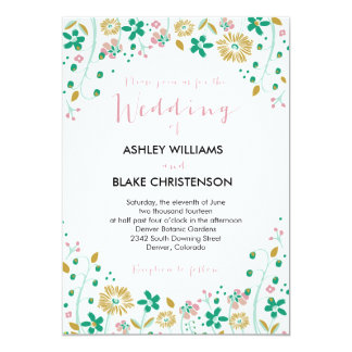 Rustic Floral Wedding Invitation Mint Gold
