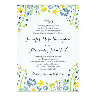 Rustic Floral Wedding Invitation Navy Yellow