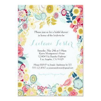 Rustic Floral Wedding Invitation Pink Blue Yellow