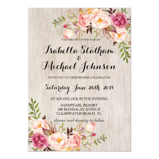 Rustic floral wedding invitationwatercolor bg 2 card zazzle rustic floral wedding invitationwatercolor bg 2 card stopboris Choice Image