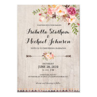 Rustic Floral Wedding Invitation/Watercolor bg-2 Card