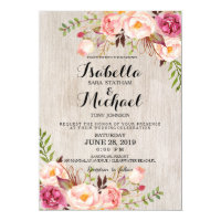 Rustic Floral Wedding Invitation/Watercolor bg Card