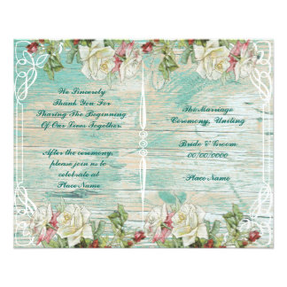 rustic floral wedding program