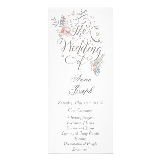 Rustic floral wedding program III Custom Rack Cards