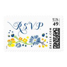 Rustic Floral Wedding R S V P stamp