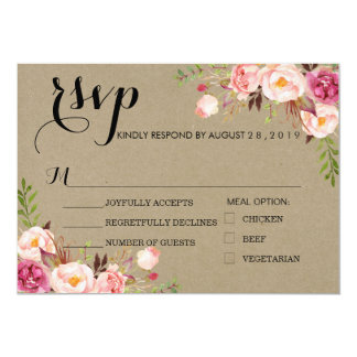 Rustic Floral Wedding RSVP/kraft paper texture Card