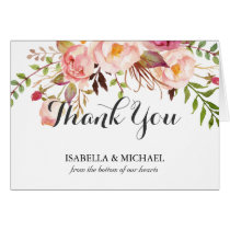 Rustic Floral Wedding Thank You Card