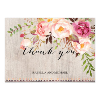 Rustic Floral Wedding Thank You/Double-Sided Card