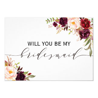 Rustic Floral Will you be my bridesmaid | 2 sided Card