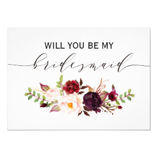 Rustic Floral Will you be my bridesmaid | 2side-2 Card