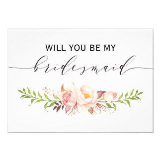 Rustic Floral Will you be my bridesmaid | 2side-3 Card