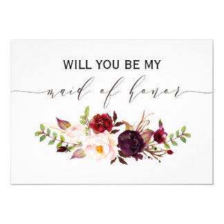 Rustic Floral Will you be my maid of honor 2sided Invitation