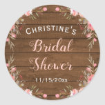 """Rustic Floral Wood Country Chic Bridal Guest Favor Classic Round Sticker<br><div class=""""desc"""">Rustic country chic stickers for a bridal shower,  baby shower,  birthday or other occasion. Customize the text and shape. Complete your theme with matching invitations,  signs,  favor tags and more from my Rustic Country Chic Collection.</div>"""