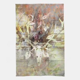 Rustic Floral Wood Grain Stag Skull Antlers Hand Towel