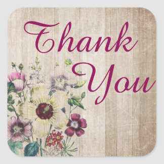 Rustic Floral Wood Thank You Sticker