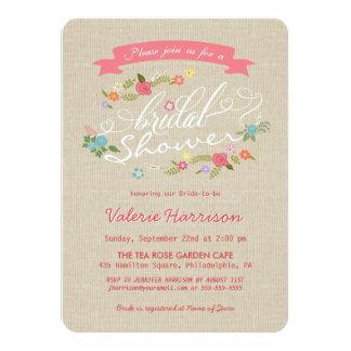 Rustic Floral Wreath Beige Burlap Bridal Shower Custom Announcement