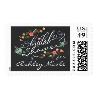 Rustic Floral Wreath Bridal Shower Blackboard Postage