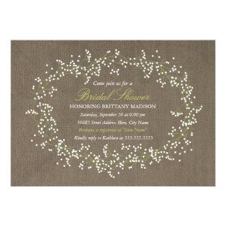 Rustic Floral Wreath & Burlap Bridal Shower Invite