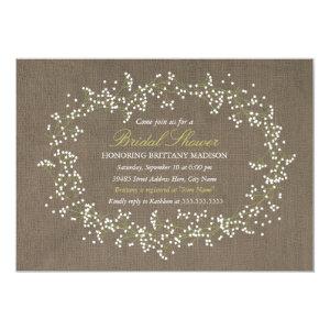 Rustic Floral Wreath & Burlap Bridal Shower Invite 5