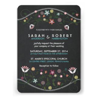 Rustic Floral Wreath Chalkboard Wedding Invitation