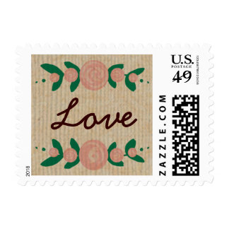 Rustic Floral Wreath Love Stamp