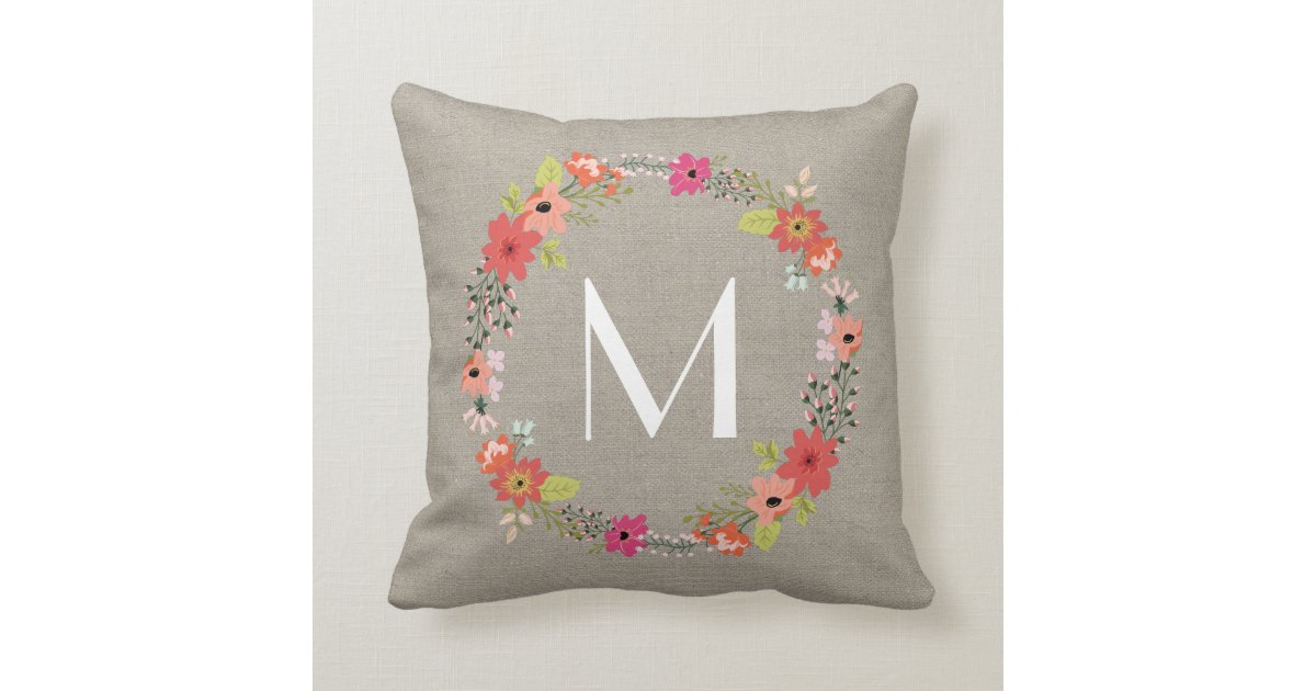 Rustic Floral Wreath Monogram Throw Pillow Zazzle