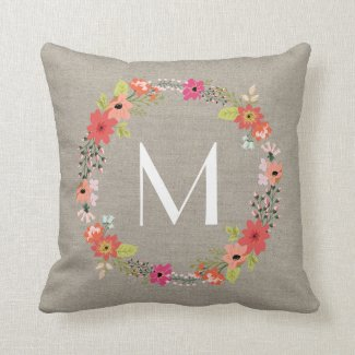 Rustic Floral Wreath Monogram Throw Pillows