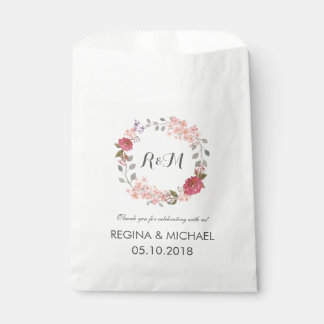 Rustic Floral Wreath Monogram Wedding Favor Bag