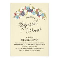 Rustic Floral Wreath Rehearsal Dinner Custom Invites