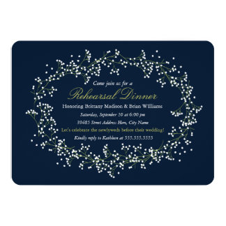 Rustic Floral Wreath Rehearsal Dinner Invite