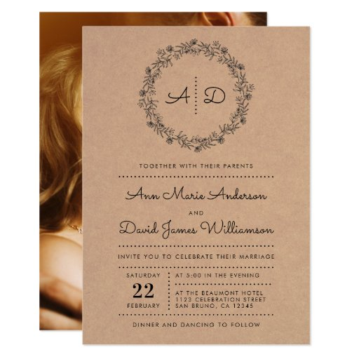 Rustic Floral Wreath Wedding Photo Invitation