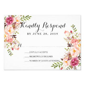 Rustic Floral Wreath Wedding RSVP Card