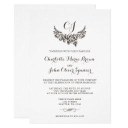 Monogram Vintage Scroll Wedding Invitations