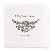 Rustic Flourish Vintage Wedding Paper Dinner Napkin