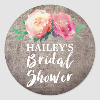 Rustic Flower Bouquet Bridal Shower Classic Round Sticker