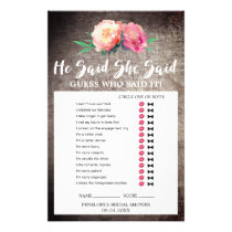 "Rustic Flower Bouquet ""He Said She Said"" Game Flyer"