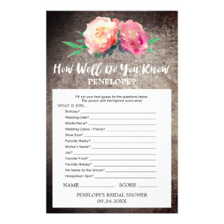 Rustic Flower How Well Do You Know The Bride Game Flyer