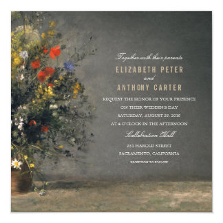 Rustic Flower Vase 5.25x5.25 Painting Wedding Card