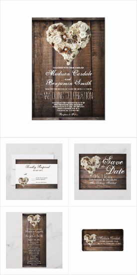 Rustic Flower Wood Heart Wedding Invitation Set