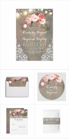 Rustic Flowers Country Wedding Invitation Set