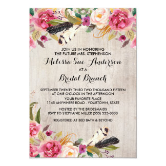 Rustic Flowers and Feathers Bridal Shower Card
