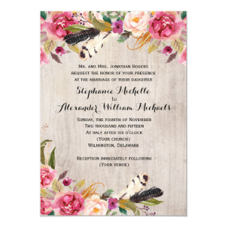 Rustic Flowers and Feathers Wedding Invitation