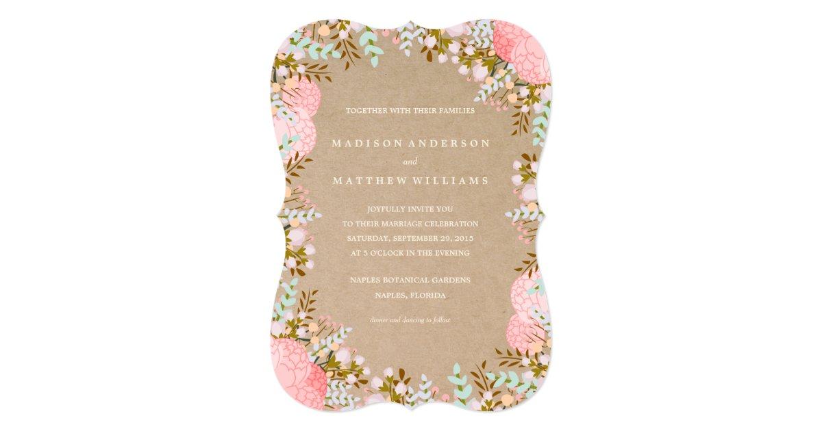 Rustic Flowers Border Wedding Invitation Zazzle Com