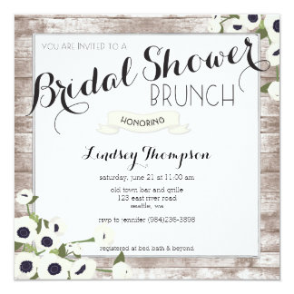 Rustic Flowers Bridal Shower Brunch Invitation