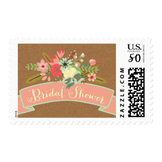 Rustic Flowers   Bridal Shower Postage Stamps