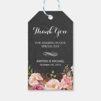 Rustic Flowers Chalkboard Decor Wedding Thank You Gift Tags