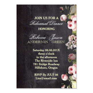 rustic flowers Chalkboard wedding rehearsal dinner 5x7 Paper Invitation Card