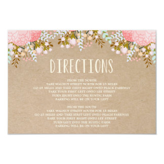 Rustic Flowers | Direction Enclosure Card