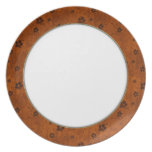 Rustic Flowers on Burnt Orange Dinner Plate Design Party Plates