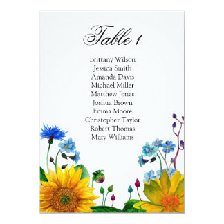 Rustic flowers seating chart. Wedding table plan Card